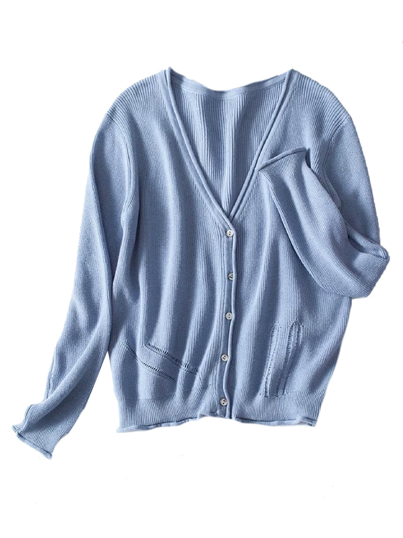 Goodnight Macaroon 'Nora' Distressed Rib-Knitted Button-Up Cardigan Blue