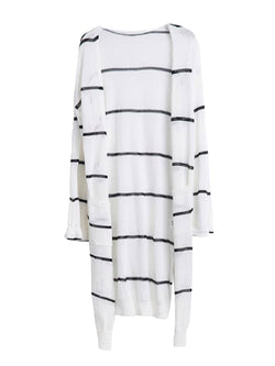 Goodnight Macaroon 'Emersyn' Striped Thin Open Long Cardigan White Front