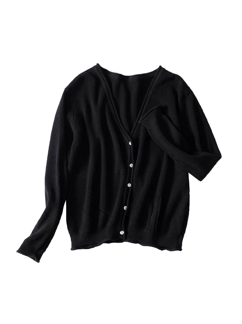 Goodnight Macaroon 'Nora' Distressed Rib-Knitted Button-Up Cardigan Black