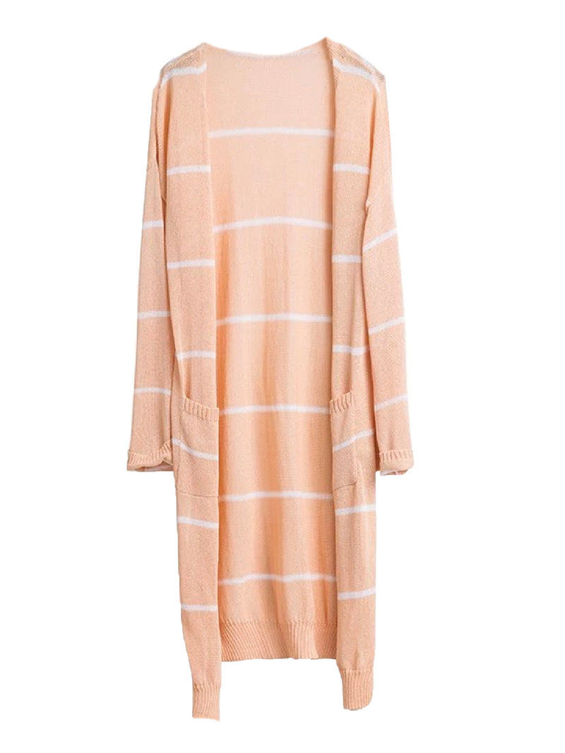 Goodnight Macaroon 'Emersyn' Striped Thin Open Long Cardigan Pink Front