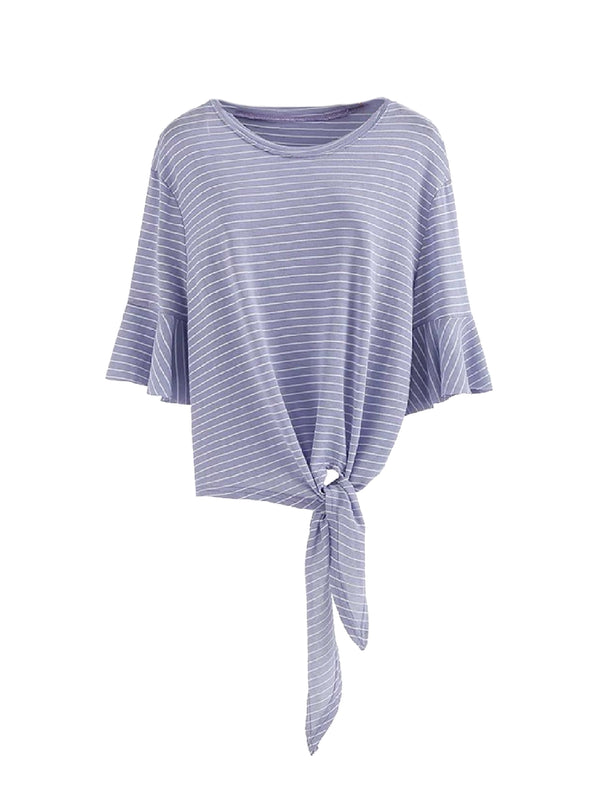 Goodnight Macaroon 'Kinley' Striped Tied Boat Neck T-Shirt Blue Front
