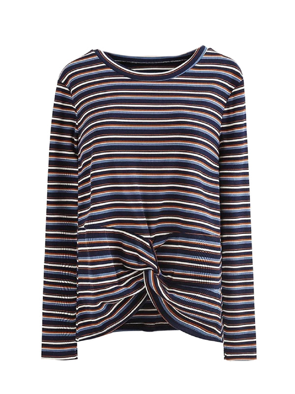 Goodnight Macaroon 'Monica' Striped Ribbed Front Knot T-Shirt Blue Front