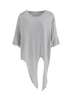 Goodnight Macaroon 'Kinley' Striped Tied Boat Neck T-Shirt Black Front