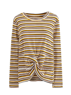 Goodnight Macaroon 'Monica' Striped Ribbed Front Knot T-Shirt Yellow Front