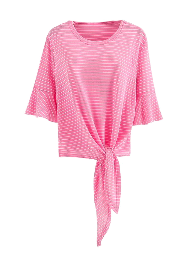 Goodnight Macaroon 'Kinley' Striped Tied Boat Neck T-Shirt Pink Front