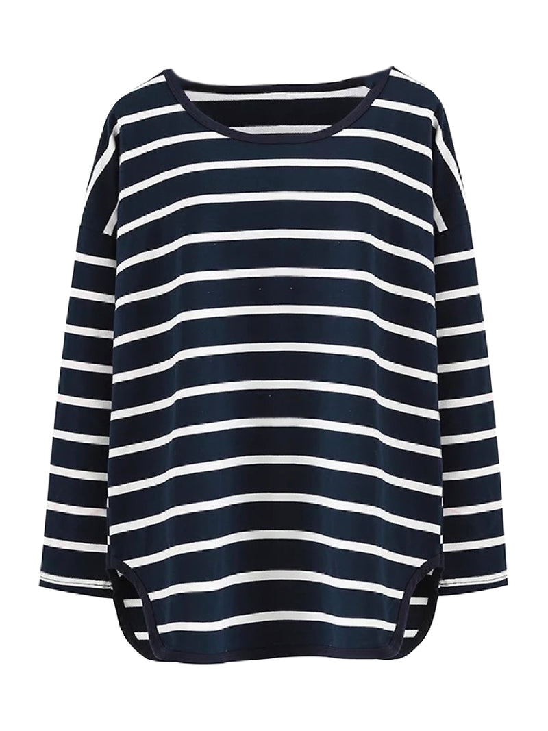 Goodnight Macaroon 'Tori' Striped Asymmetric Hem Long Sleeved T-Shirt Navy Blue Front