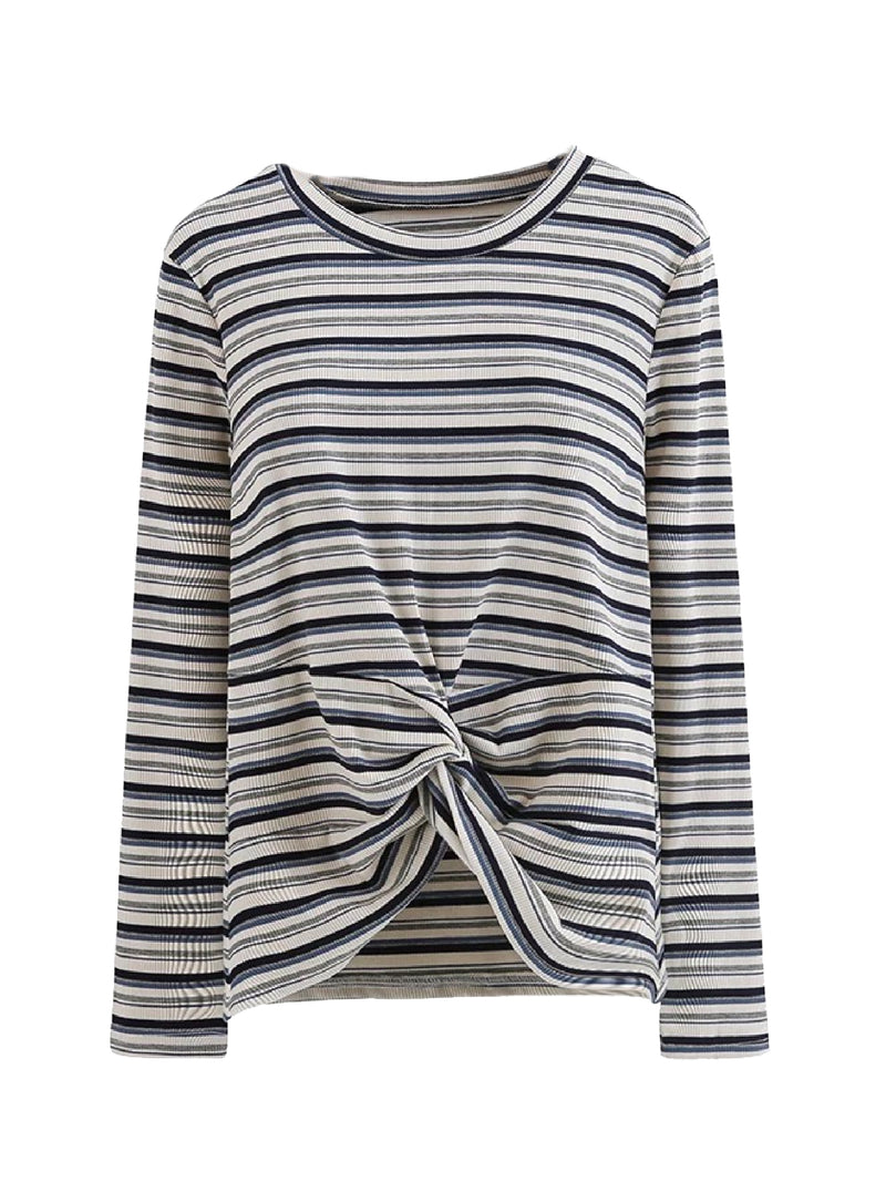 Goodnight Macaroon 'Monica' Striped Ribbed Front Knot T-Shirt White Front