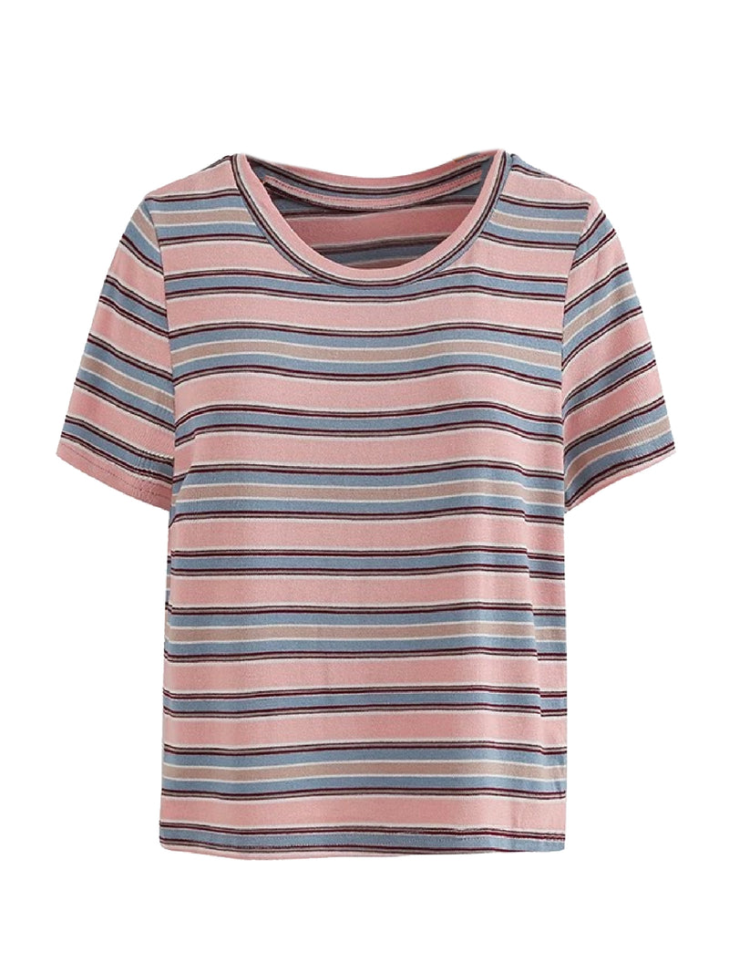 Goodnight Macaroon 'Kimora' Striped Short Sleeved T-Shirt Pink Front