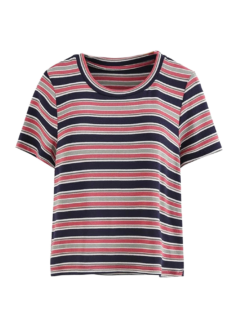 Goodnight Macaroon 'Kimora' Striped Short Sleeved T-Shirt Blue Front