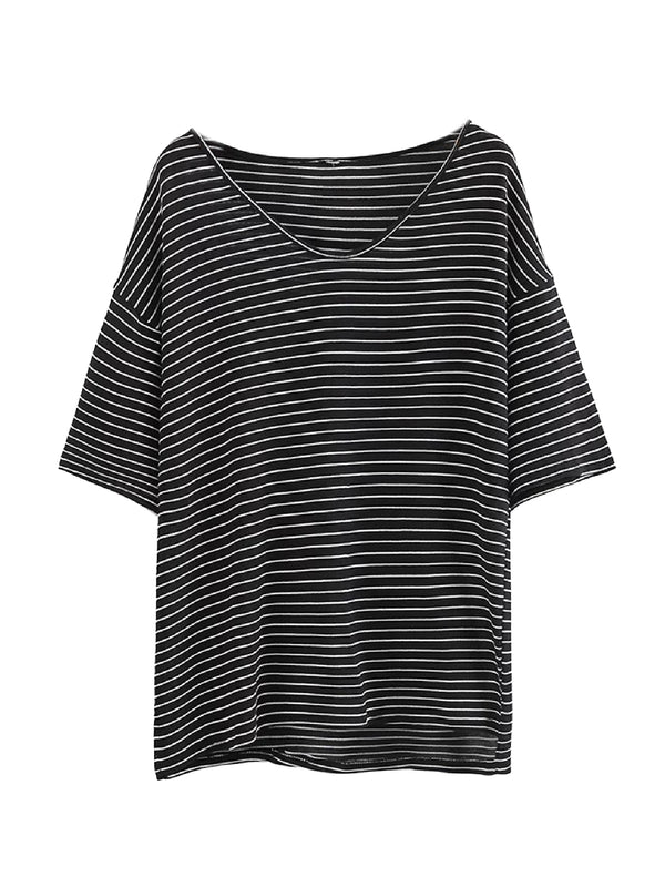 Goodnight Macaroon 'Alora' Oversized Striped T-Shirt Front Black
