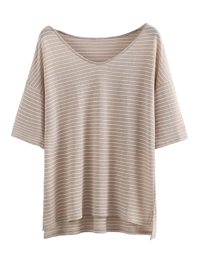 Goodnight Macaroon 'Alora' Oversized Striped T-Shirt Beige Front
