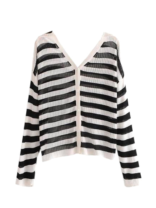 Goodnight Macaroon 'Hazel' Striped Ribbed Lightweight Button-up Cardigan Front