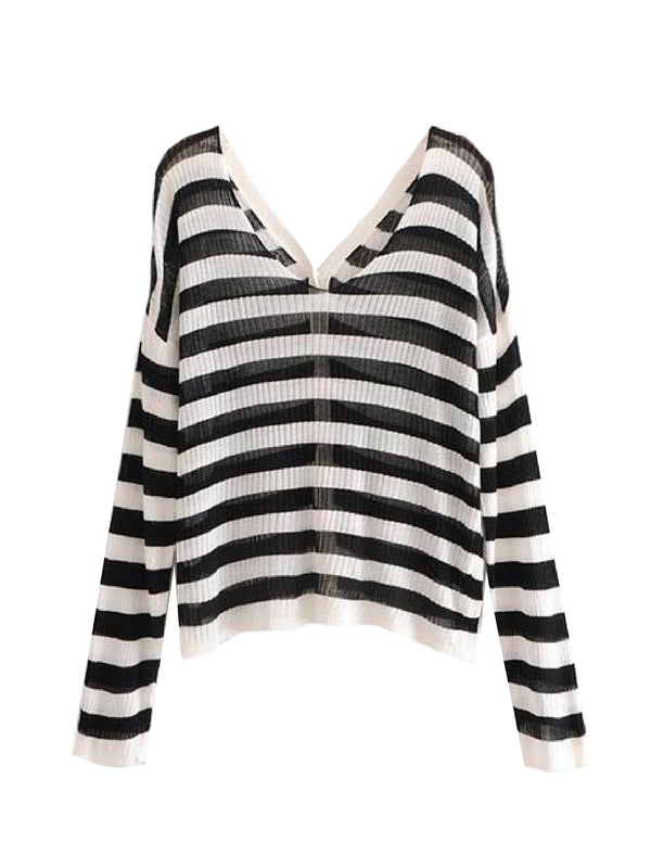 Goodnight Macaroon 'Hazel' Striped Ribbed Lightweight Button-up Cardigan Back