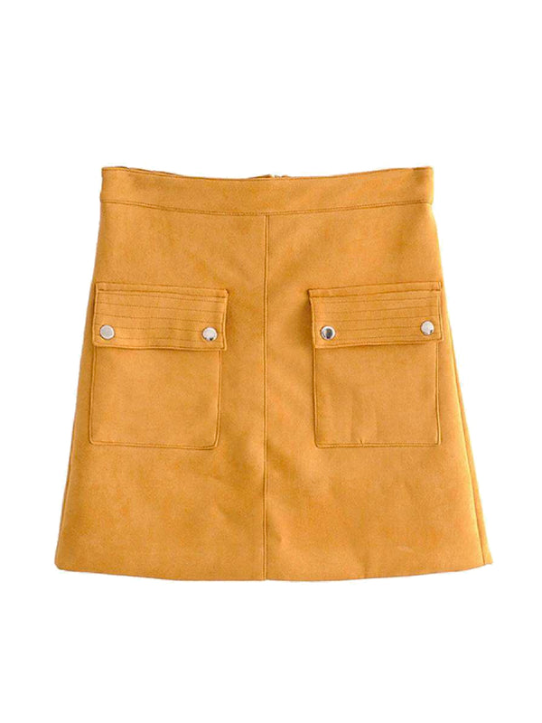 Goodnight Macaroon 'Kinsley' Yellow Faux Suede A-Line Mini Skirt Front