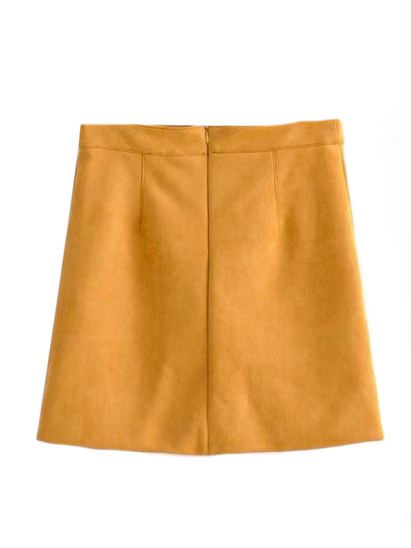 Goodnight Macaroon 'Kinsley' Yellow Faux Suede A-Line Mini Skirt Back