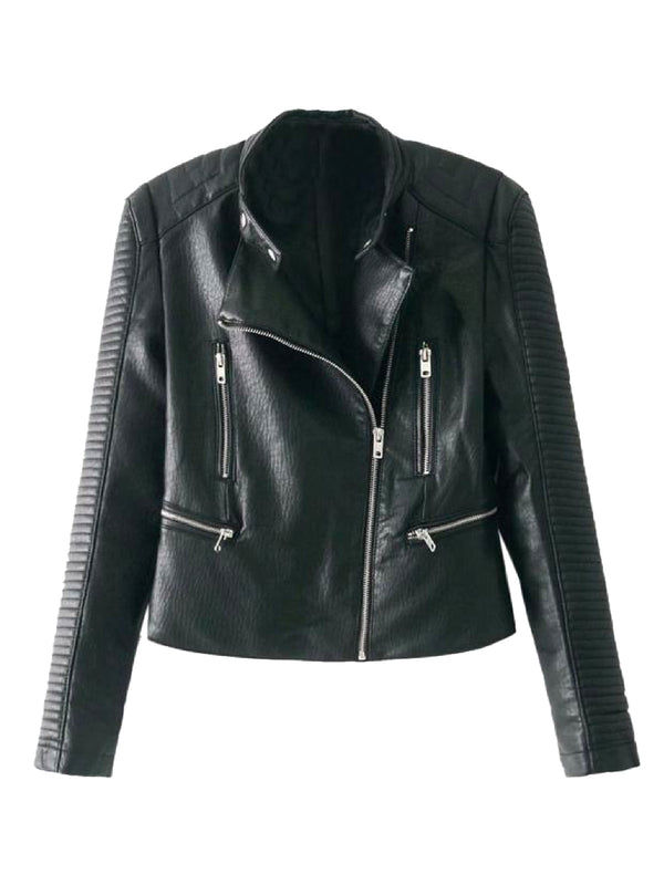 Goodnight Macaroon 'Willow' Quilted Sleeve Biker Faux Leather Jacket Front