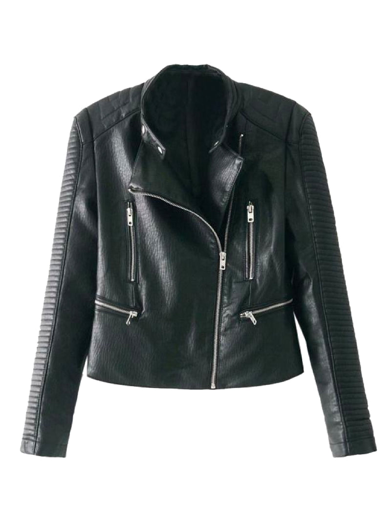 Willow Quilted Sleeve Biker Faux Leather Jacket