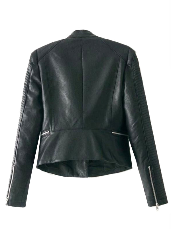 Goodnight Macaroon 'Willow' Quilted Sleeve Biker Faux Leather Jacket Back
