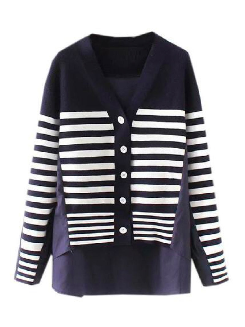 Goodnight Macaroon 'Gianna' Mock Layered Striped Cardigan Front