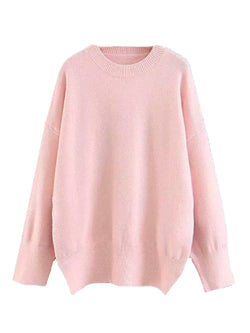 Goodnight Macaroon 'Isla' Oversized Side Slit Crewneck Sweater Pink Front