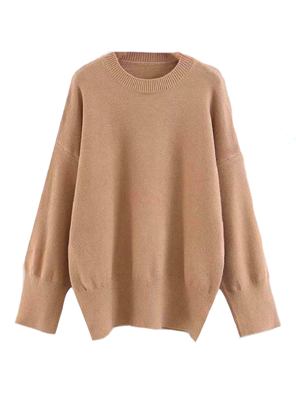 Goodnight Macaroon 'Isla' Oversized Side Slit Crewneck Sweater Khaki Front