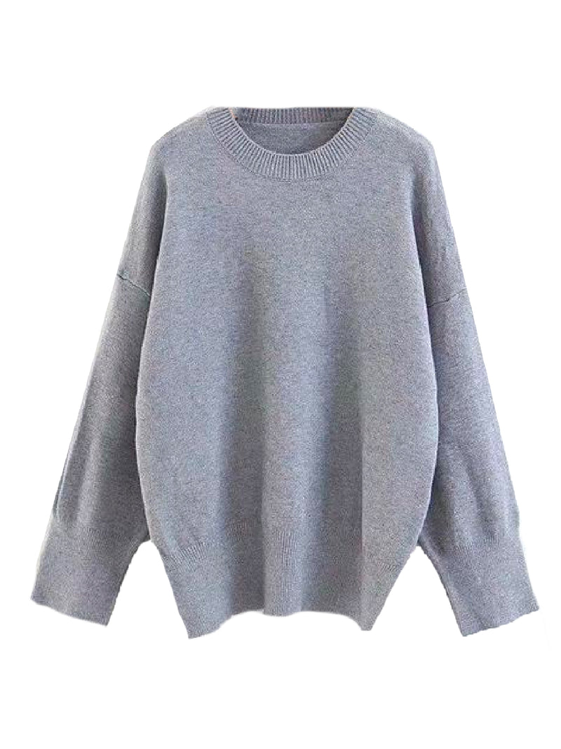 Goodnight Macaroon 'Isla' Oversized Side Slit Crewneck Sweater Light Grey Front