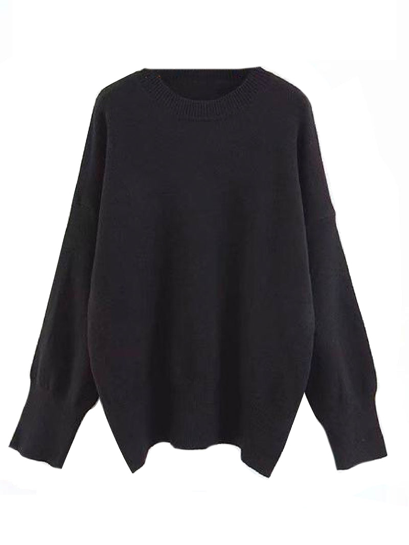 Goodnight Macaroon 'Isla' Oversized Side Slit Crewneck Sweater Black Front
