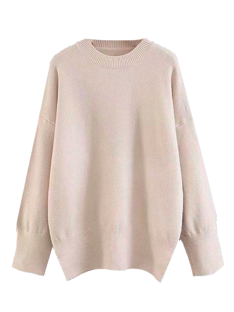 Goodnight Macaroon 'Isla' Oversized Side Slit Crewneck Sweater Beige Front