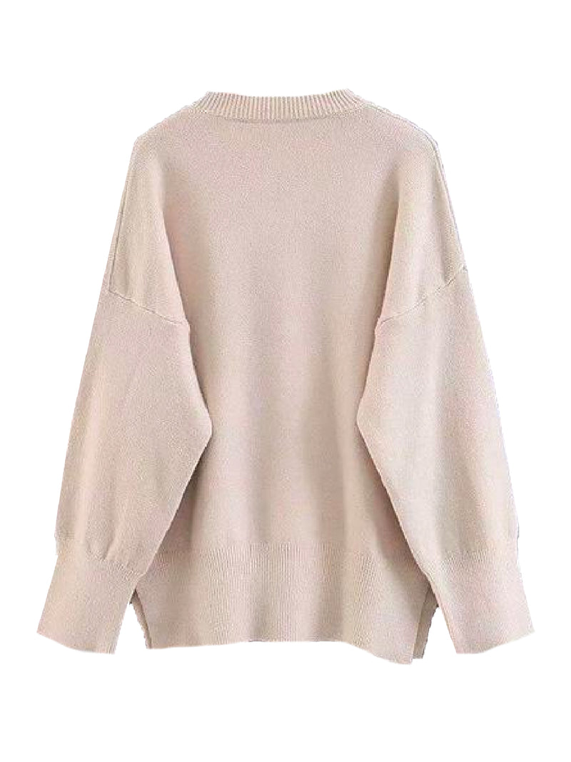 Goodnight Macaroon 'Isla' Oversized Side Slit Crewneck Sweater Beige Back