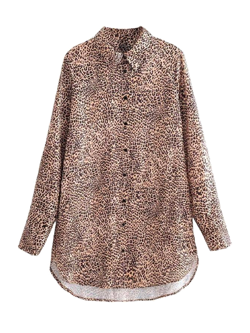Goodnight Macaroon 'Ivy' Leopard Print Oversized Shirt Front