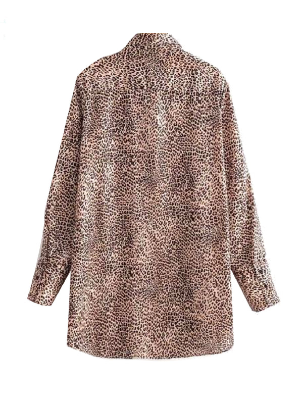 Goodnight Macaroon 'Ivy' Leopard Print Oversized Shirt Back