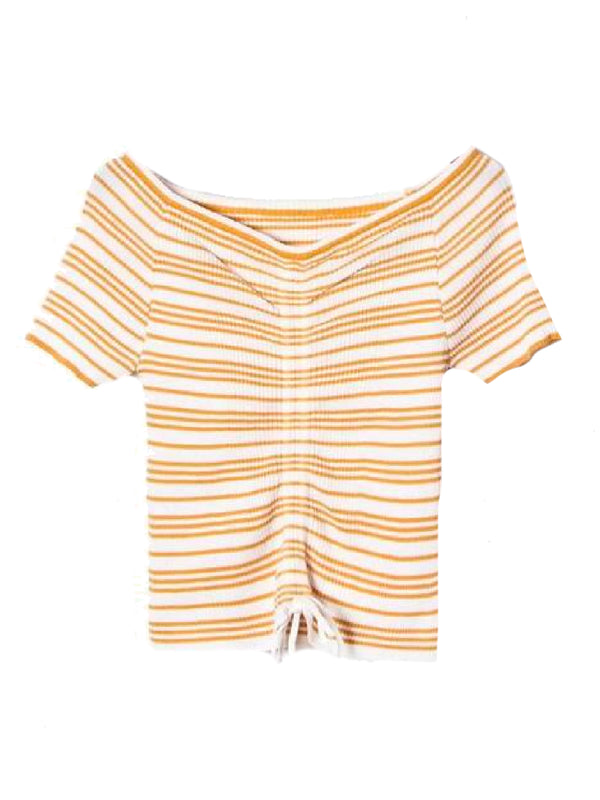 Goodnight Macaroon 'Leilani' Striped Ruched Ribbed Top Yellow Front