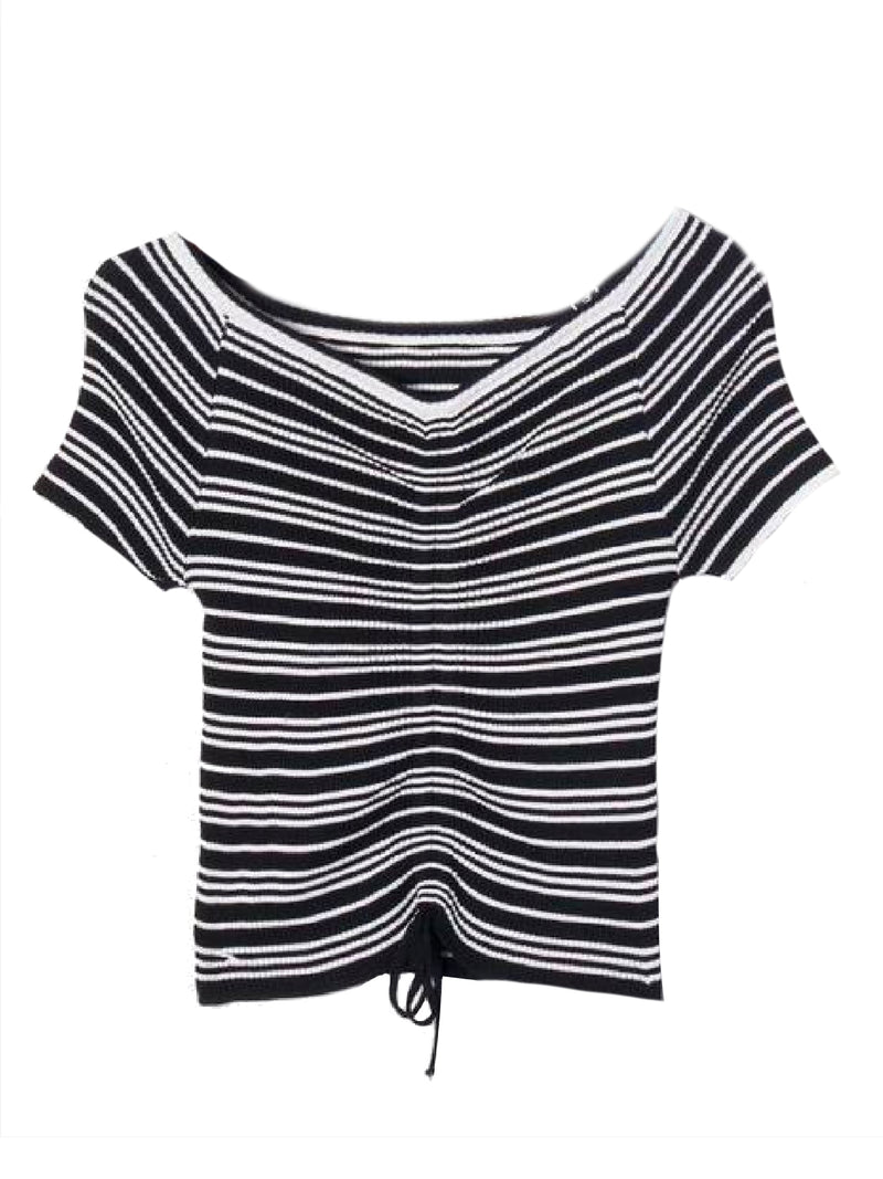 Goodnight Macaroon 'Leilani' Striped Ruched Ribbed Top Black Front