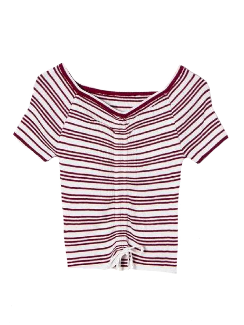 Goodnight Macaroon 'Leilani' Striped Ruched Ribbed Top Red Front