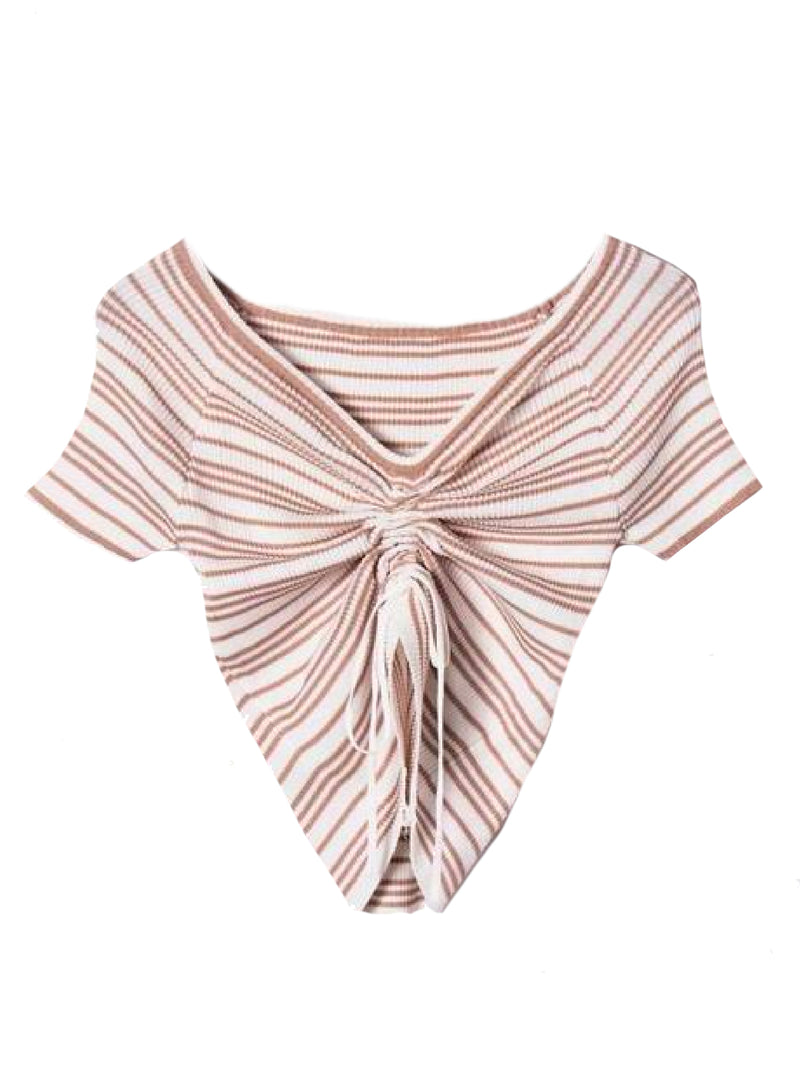 Goodnight Macaroon 'Leilani' Striped Ruched Ribbed Top Pink Front