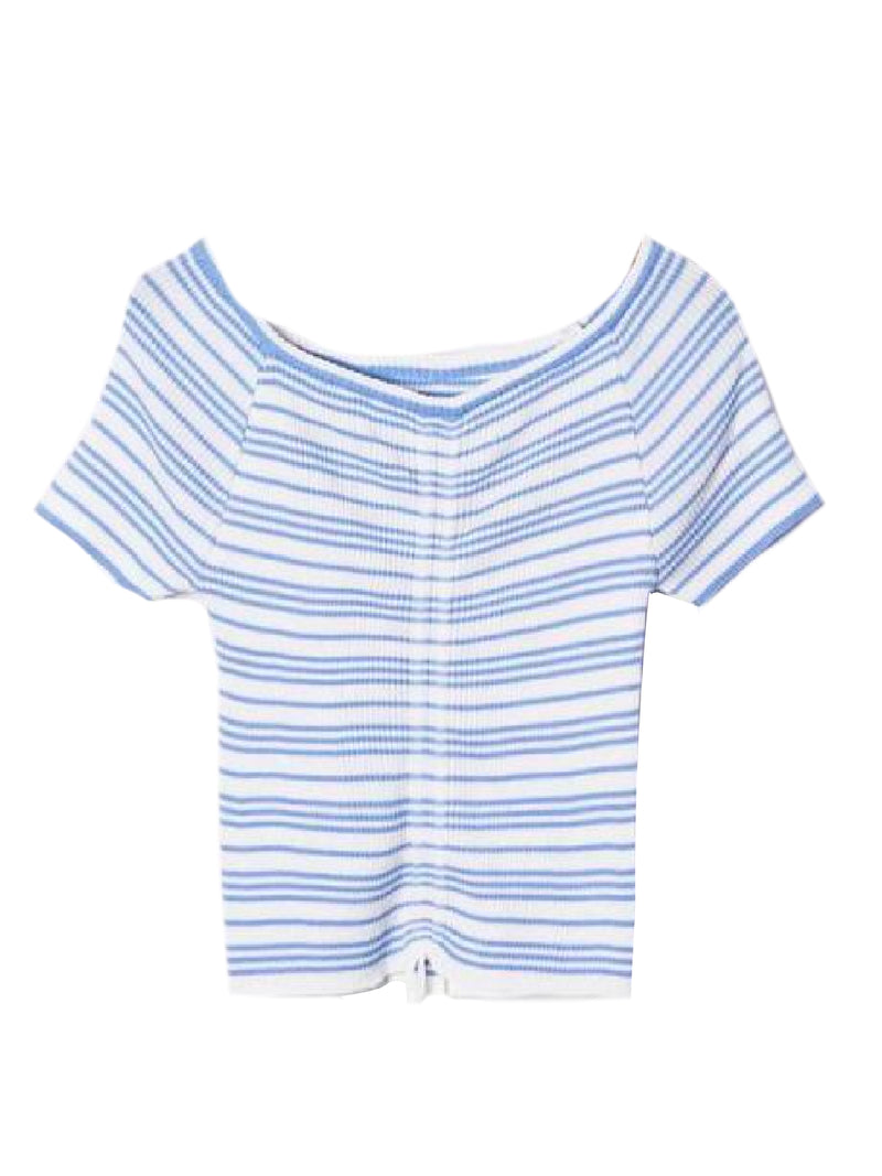 Goodnight Macaroon 'Leilani' Striped Ruched Ribbed Top Blue Front