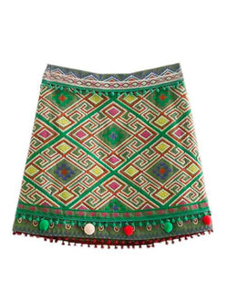 Goodnight Macaroon 'Lucia' Embroidered Pom Pom Boho Skirt Front