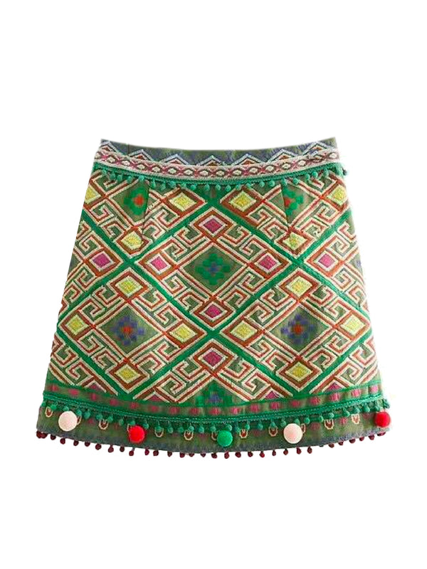 Goodnight Macaroon 'Lucia' Embroidered Pom Pom Boho Skirt Back