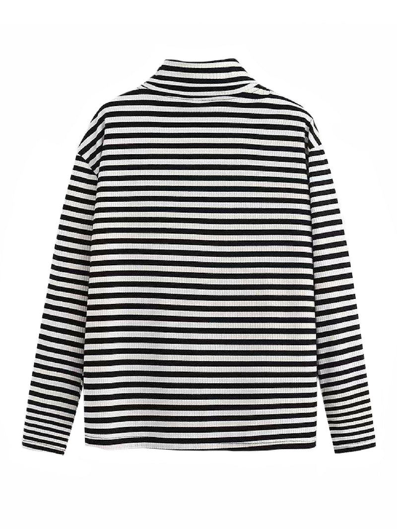 'Carys' Striped Turtleneck Ribbed Sweater