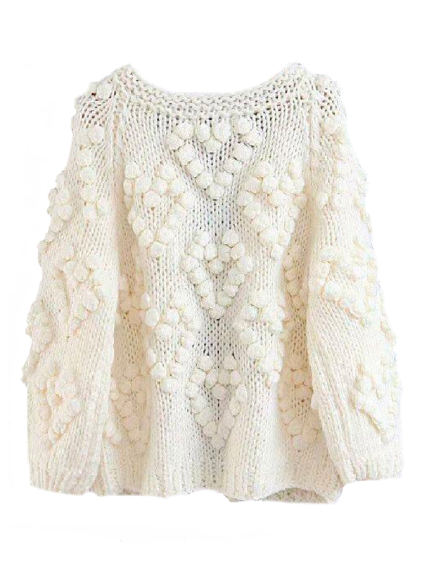 Goodnight Macaroon 'Fia' Pom Pom Chunky Knit Sweater Product White Back
