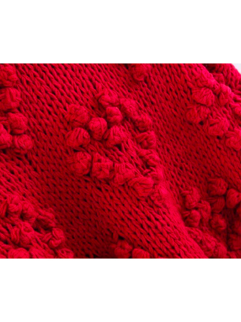Goodnight Macaroon 'Fia' Pom Pom Chunky Knit Sweater Product Red Detail