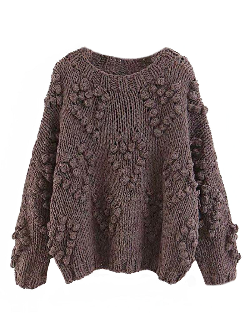 Goodnight Macaroon 'Fia' Pom Pom Chunky Knit Sweater Product Brown