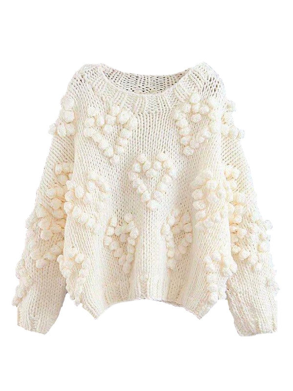Goodnight Macaroon 'Fia' Pom Pom Chunky Knit Sweater Product White Front