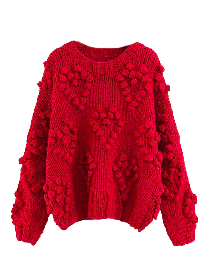 Goodnight Macaroon 'Fia' Pom Pom Chunky Knit Sweater Product Red