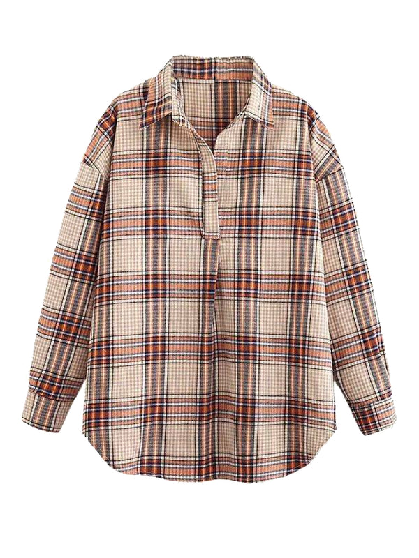 'Clarkson' Brown Plaid Half-Buttoned Shirt