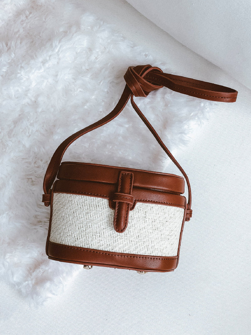 Goodnight Macaroon 'Kiera' Two Tone Chevron Shoulder Bucket Bag Brown Front