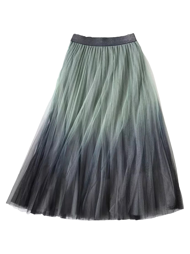 'Oreo' Ombre Tulle Midi Skirt (3 Colors)