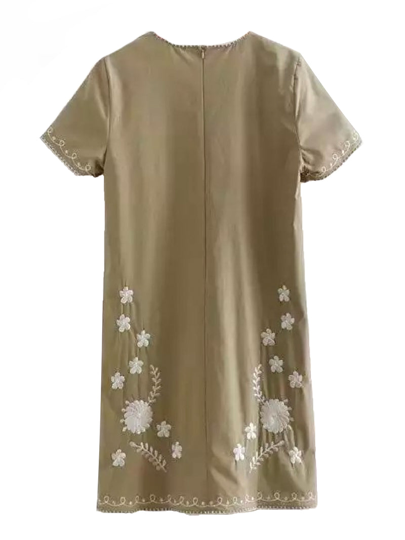 Goodnight Macaroon 'Savannah' Khaki Floral Embroidery Linen Mini Dress Product Back