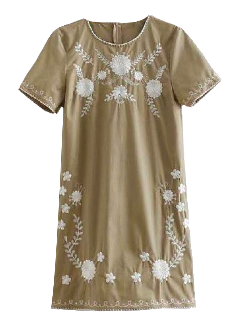 Goodnight Macaroon 'Savannah' Khaki Floral Embroidery Linen Mini Dress Product Front