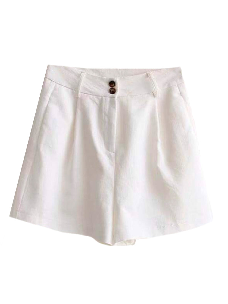 Goodnight Macaroon 'Brooke' Smart Linen Shorts Product White Front